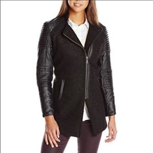 Jolt Black Vegan Leather Pea Coat